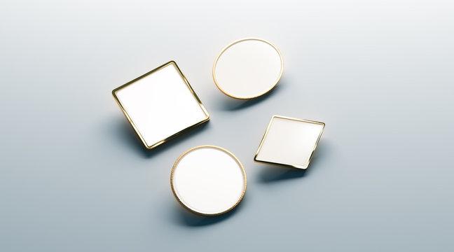 Blank white gold lapel badge mock ups set, round, square, rhombus, ellipse, 3d rendering. Empty luxury hard enamel pin mockup. Golden clasp-pin design template. Expensive brooch for presentation.