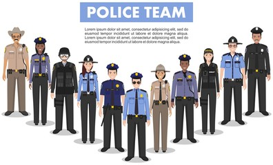 Police people concept. Detailed illustration of SWAT officer, policeman, policewoman and sheriff in flat style on white background. Vector illustration.