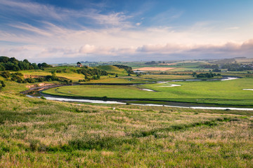 River Aln Meanders past Mount Pleasant / As the River Aln approaches the North Sea at Alnmouth, now tidal, it meanders through farmland past Mount Pleasant.