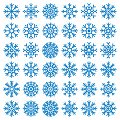 Vector blue snowflakes set on white background, winter icons silhouette, 25 ice stars, vector elements for your Christmas and New Year holiday design projects