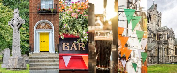 Wall Mural - Ireland and Dublin panoramic photo collage, travel concept