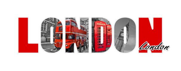 Photo on textile frame London red bus London letters, isolated on white background, travel and tourism in UK concept