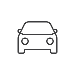 Car line icon, outline vector sign, linear style pictogram isolated on white. Vehicle symbol, logo illustration. Editable stroke. Pixel perfect vector graphics