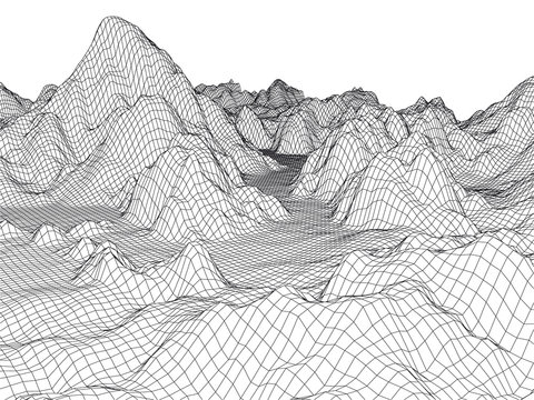 Abstract landscape mesh background. 3D terrain grid isolated.