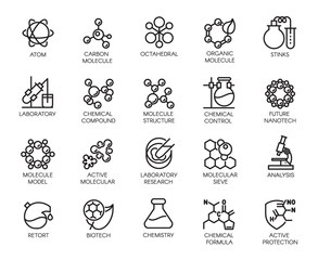 Molecular chemistry, physics and medicine concept icons in linear style. Big set of 20 outline pictograms isolated on a white background. Scientific symbols. Vector contour labels
