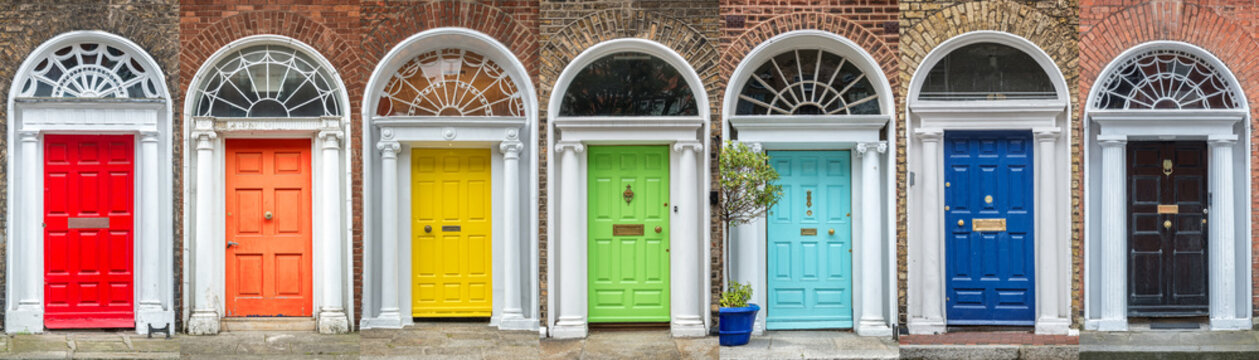 Panoramic rainbow colors collection of typical irish georgian doors of Dublin, Ireland