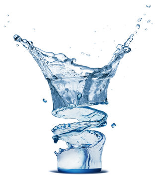 water splash in glass isolated on a white background