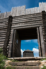Old fortified settlement at the birów limestone mountain in Poland, wooden old Gate