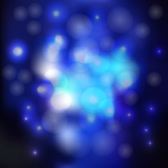 Blurred blue background with glare and bubbles. vector illustration.
