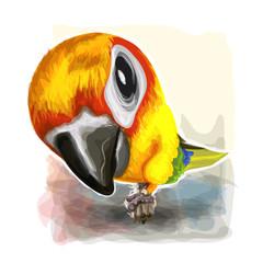 Watercolor art of bird in vector illustration.