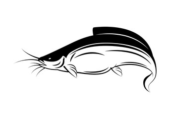 graphic catfish on white background, vector