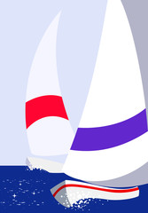 Vector colorful yacht sea