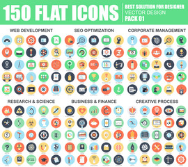 Flat web icons pack