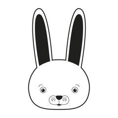 sketch silhouette monochrome caricature face rabbit cute animal vector illustration