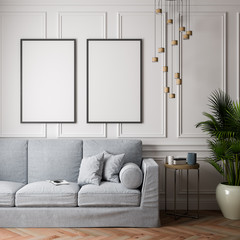 Mockup Poster in the interior, 3D illustration of a classic design