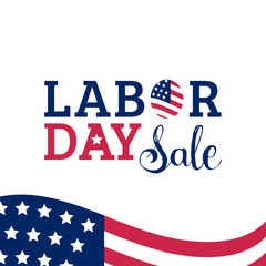 Labor Day Sale hand lettering vector background. Holiday discount card with USA flag illustration. Special offer poster.