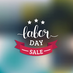 Labor Day Sale hand lettering vector background. Holiday discount card with stars and ribbon illustration.