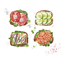 set of watercolor toasts
