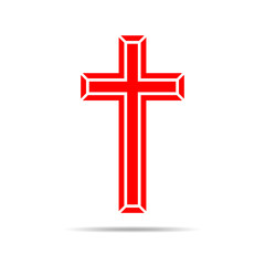 Red Christian cross icon. Vector illustration.