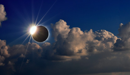 Total solar eclipse, photograph of the phenomenon, Fiji Island year 2012