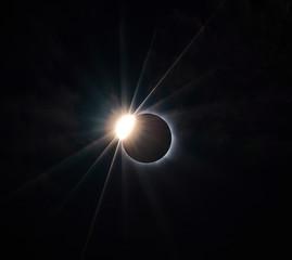 Total solar eclipse, photograph of the phenomenon, Fiji Island year 2012