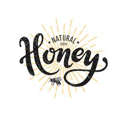 Natural honey Lettering. Vector illustration on white background