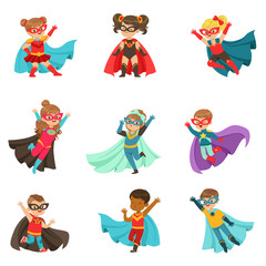 Super kids set, boys and girls in superhero costumes colorful vector Illustrations