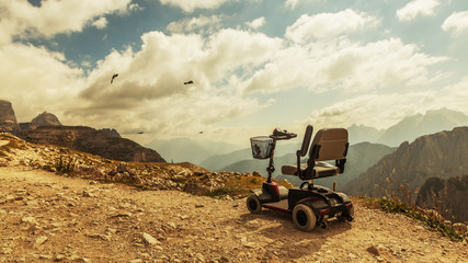 Mobile electric buggies on the mountain, Dolomites, Italy. disable car