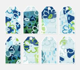 Doodled flowers blue green tag set