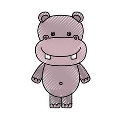 color crayon silhouette caricature cute hippopotamus animal vector illustration