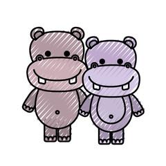 color crayon silhouette caricature couple cute animal hippopotamus vector illustration