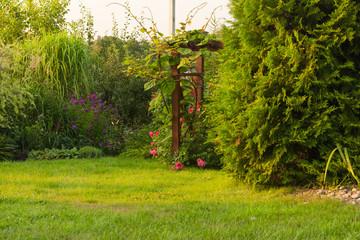 Wooden pergola in a beautiful garden