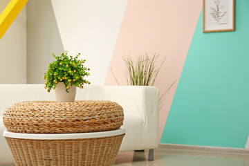 Wicker table with plant in light modern room