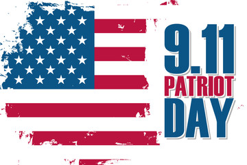 Patriot Day, september 11, banner with brush stroke background in United States national flag colors. Vector illustration.