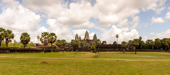 Away view of  the Angkor Wat, Cambodia, the largest religious monument in the world, UNESCO World Heritage