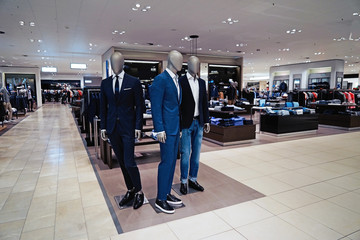 Store with luxury male clothes
