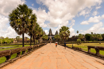 Road to the Angkor Wat (Temple City), a Buddhist, temple complex in Cambodia and the largest religious monument in the world. View from the garden