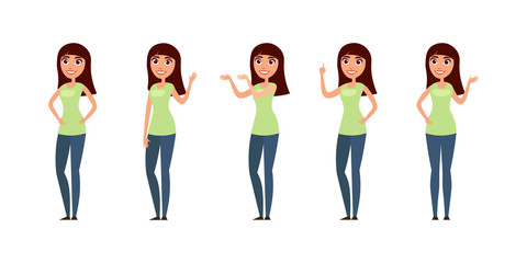 Set of woman, girl in casual clothes in different poses. A character for your design project. Vector illustration in flat and cartoon style