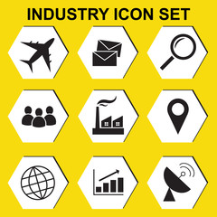 Industry factory concept icon set