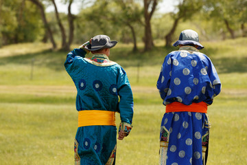 Mongolian men with their traditional dressing