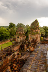Pre Rup, a temple at Angkor, Cambodia, the state temple of Khmer king Rajendravarman. It is a temple mountain made of brick, laterite and sandstone construction.