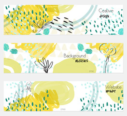 Roughly drawn dandelion flower white yellow banner set