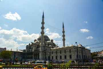Istanbul city with mosques and bosom canal in summer