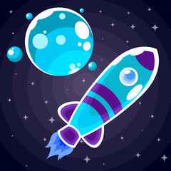 A blue rocket sticker with purple stripes and blue portholes that flies past a blue planet with four satellites