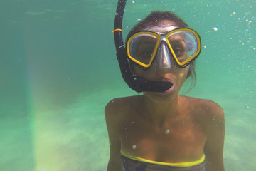 Underwater Portrait of Young Beautiful Caucasian Woman. Similan, Thailand.