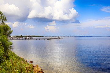 The coastline of NW Bradenton and the Gulf of Mexico in FL, USA