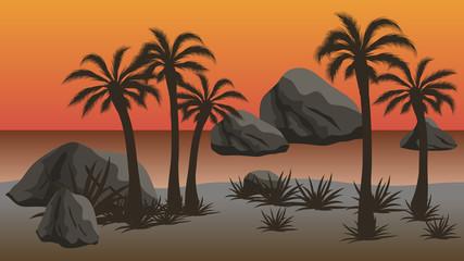 Sunset beach - vector night  landscape background