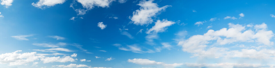 Vibrant color panoramic sky with cloud on a sunny day. Beautiful cirrus cloud. Panorama high resolution photograph.