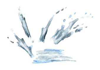 Water splash elements. Watercolor hand-drawn illustration