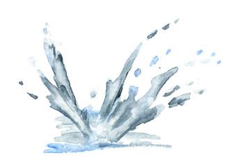 Water splash. Watercolor hand-drawn illustration